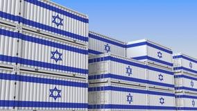 Контейнерный терминал вполне контейнеров с флагом Израиля Израильские экспорт или импорт связали перевод 3D иллюстрация штока