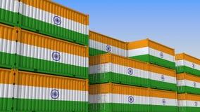 Контейнерный терминал вполне контейнеров с флагом Индии Индийские экспорт или импорт связали перевод 3D иллюстрация вектора