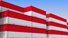 Контейнерный терминал вполне контейнеров с флагом Индонезии Индонезийские экспорт или импорт связали перевод 3D иллюстрация вектора