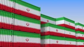 Контейнерный терминал вполне контейнеров с флагом Ирана Иранские экспорт или импорт связали перевод 3D иллюстрация штока