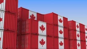 Контейнерный терминал вполне контейнеров с флагом Канады Канадские экспорт или импорт связали перевод 3D иллюстрация вектора