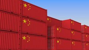 Контейнерный терминал вполне контейнеров с флагом Китая Китайские экспорт или импорт связали перевод 3D иллюстрация вектора