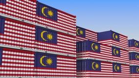 Контейнерный терминал вполне контейнеров с флагом Малайзии Малайзийский экспорт или импорт связали перевод 3D иллюстрация штока