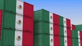 Контейнерный терминал вполне контейнеров с флагом Мексики Мексиканские экспорт или импорт связали перевод 3D иллюстрация вектора