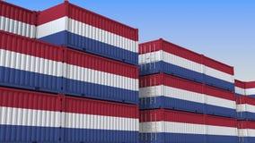 Контейнерный терминал вполне контейнеров с флагом Нидерланд Голландские экспорт или импорт связали перевод 3D иллюстрация штока