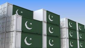 Контейнерный терминал вполне контейнеров с флагом Пакистана Пакистанские экспорт или импорт связали перевод 3D иллюстрация вектора