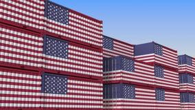 Контейнерный терминал вполне контейнеров с флагом США Американские экспорт или импорт связали перевод 3D бесплатная иллюстрация