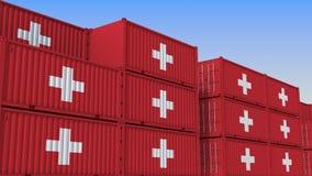Контейнерный терминал вполне контейнеров с флагом Швейцарии Швейцарские экспорт или импорт связали перевод 3D иллюстрация штока
