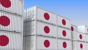 Контейнерный терминал вполне контейнеров с флагом Японии Японские экспорт или импорт связали перевод 3D иллюстрация вектора