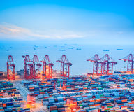 Контейнерный терминал Шанхая на сумраке Стоковые Изображения
