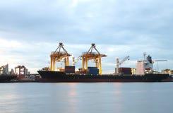 Контейнеры нагружая на море порт торговой операции Стоковые Изображения