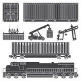 контейнеры фуры поезда локомотивные Стоковая Фотография RF