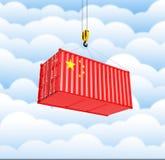 Контейнер грузовых перевозок с китайским oncept ¡ флага Ð доставки от Китая на предпосылке 3d облака иллюстрация штока
