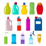 Контейнер детержентного вектора бутылки пластичный пустой с жидкостью detergency и продукт уборщика домочадца модель-макета для п иллюстрация вектора