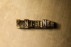 КОНТЕЙНЕР - конец-вверх grungy слова typeset годом сбора винограда на фоне металла иллюстрация штока