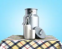 Контейнер консервной банки молока около бутылки и стекла молока на таблице 3d представить на голубом градиенте иллюстрация штока
