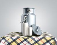 Контейнер консервной банки молока около бутылки и стекла молока на таблице 3d представить на сером градиенте бесплатная иллюстрация