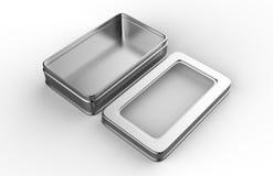 Контейнер коробки металла нержавеющей стали или олова сияющий серебряный с крышкой окна на белой предпосылке для Des насмешки под иллюстрация вектора