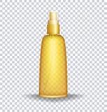 Контейнер лосьона блока Солнця Бутылка масла заботы Солнця прозрачная также вектор иллюстрации притяжки corel Стоковое Фото