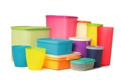 контейнер предпосылки над пластичной белизной Стоковые Фотографии RF