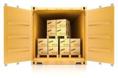 контейнер при коробки изолированные на белой предпосылке иллюстрация штока