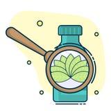 контейнер с таблетками и увеличивая объектив с листьями, концепцией естественных медицин и гомеопатией иллюстрация вектора