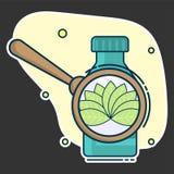 контейнер с таблетками и увеличивая объектив с листьями, концепцией естественных медицин и гомеопатией бесплатная иллюстрация
