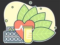 контейнер с таблетками на предпосылке листьев, концепции естественных медицин и гомеопатии иллюстрация вектора