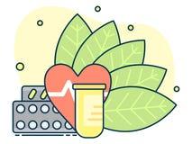 контейнер с таблетками на предпосылке листьев, концепции естественных медицин и гомеопатии иллюстрация штока