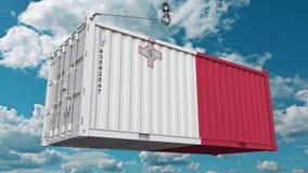 Контейнер с флагом Мальты Мальтийские импорт или экспорт связали схематический перевод 3D иллюстрация вектора