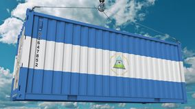 Контейнер с флагом Никарагуа Никарагуанский импорт или экспорт связали схематический перевод 3D стоковое фото rf