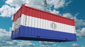 Контейнер с флагом Парагвая Парагвайск импорт или экспорт связали схематический перевод 3D стоковое изображение