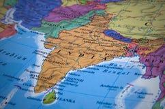 континентальная карта Индии политическая Стоковые Изображения