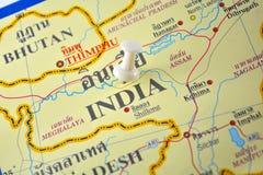 континентальная карта Индии политическая Стоковая Фотография