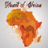 Континент Африки с выплеском цвета Иллюстрация штока