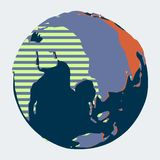 Континент Евразии на глобусе нарисованном в стиле мультфильма графическом иллюстрация штока