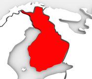 Континент Европы Скандинавии карты конспекта 3D страны Финляндии иллюстрация штока