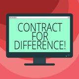 Контракт показа знака текста для разницы Схематический контракт фото между инвестором и компьютером пробела инвестиционного банка иллюстрация вектора