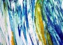 Контрасты конспекта голубые серые желтые, предпосылка акварели краски, абстрактная предпосылка акварели картины стоковая фотография rf
