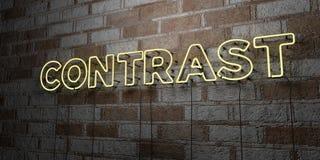 КОНТРАСТ - Накаляя неоновая вывеска на стене каменной кладки - 3D представило иллюстрацию неизрасходованного запаса королевской в иллюстрация вектора