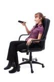 контролируйте дистанционную сь женщину Стоковая Фотография