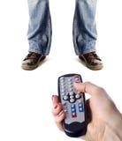 контролируйте женщину remote человека управления Стоковое Изображение RF