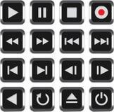 контролируйте установленные мультимедиа иконы Стоковые Изображения