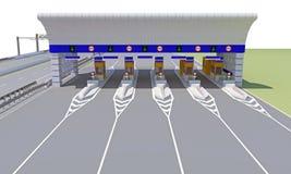 Контрольно-пропускной пункт на дороге иллюстрация вектора