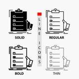 контрольный списоок, проверка, экспертиза, список, значок доски сзажимом для бумаги в тонких, регулярных, смелых линии и стиле гл иллюстрация штока