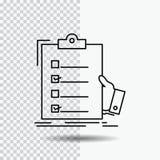 контрольный списоок, проверка, экспертиза, список, линия значок доски сзажимом для бумаги на прозрачной предпосылке r иллюстрация вектора