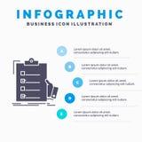контрольный списоок, проверка, экспертиза, список, шаблон Infographics доски сзажимом для бумаги для вебсайта и представление r иллюстрация штока