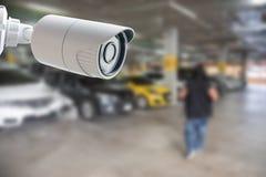 Контроль автостоянки камеры слежения CCTV Стоковая Фотография RF