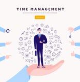 Контроль времени Концепция вектора плоская minimalistic с стойкой бизнесмена, изолированными значками планирования организуя & че Стоковые Изображения