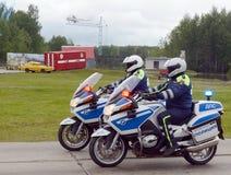 Контролеры дорожной полиции на мотоциклах BMW Стоковая Фотография